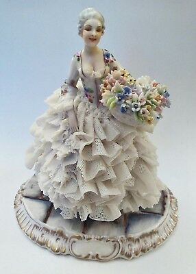 Double Marked, Capodimonte & Luigi Fabris Lady In Lace Flowers Dresden Figurine