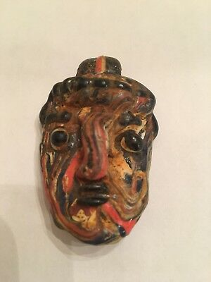 Old Vintage Antique Phoenician Handmade Mosaic Glass Face Pendant