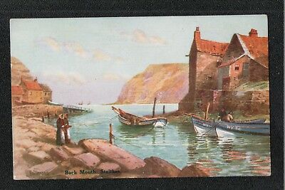 L@@K  Beck Mouth Staithes Near Whitby 1920's? J T Ross Postcard ~ LOVELY COLOURS