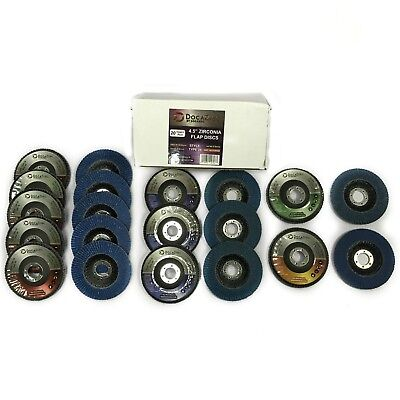 """20 Pack of Flap Discs 4.5"""" Type 29 Variety Grits T29 Abrasive Grinding Cutting"""