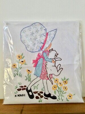 Gorgeous Holly Hobbie Hand Stitched Fabric Panel - 29 x 30cms