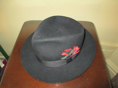 Very Nice Vintage Black Fedora Hat / Men's Size 7-1/2
