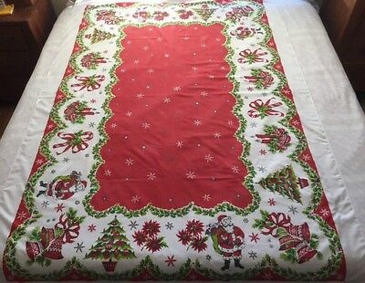 "Vintage Christmas Tablecloth 59""x86"" ~ Santas, Bells, Candy Canes & More ~ Nice!"