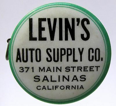 LEVIN'S AUTO SUPPLY CO. Salinas CALIFORNIA celluloid advertising tape measure *