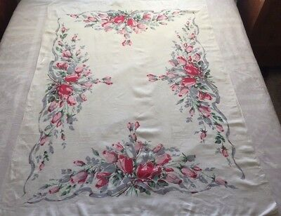 "Vintage Hardy Craft Original Linen Tablecloth 52""x70"" Signed ~ Pretty Roses!"