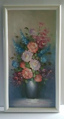 A. Sweeting signed original framed still life roses oil painting  canvas 12x24