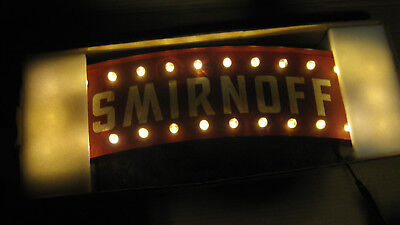 SMIRNOFF VODKA LIGHT UP PUB SIGN never used  RARE 24 INCHES LONG 26 lights booz