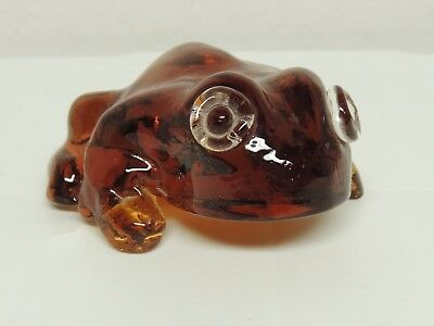 Amber Glass Frog Toad Paper Weight