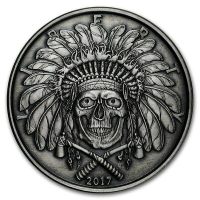 2017 American Western Skulls Series - Indian Chief 1 oz Silver Antiqued US Round