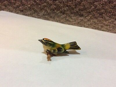 Takahashi Carved Orange Capped Bird Pin Brooch