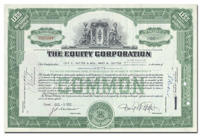 The Equity Corporation Stock Certificate (David M. Milton)