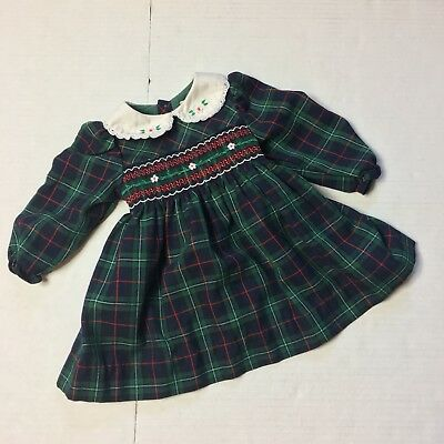 Baby Girls 18m Vtg Dress Plaid Xmas Navy Blue Smocked Flowers Lace Collar School