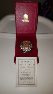 Halcyon Days Enamels The 1991 Christmas Box with case and COA