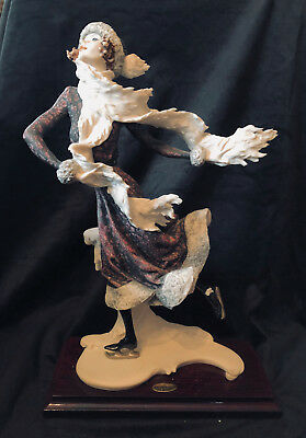 Signed Florence Giuseppe Armani Skater Winter Female Figurine Sculpture 14""