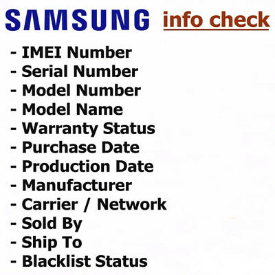 OFFICIAL SAMSUNG IMEI Carrier Check Network Sim Lock Warranty Blacklist  Report