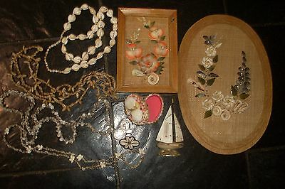 VINTAGE RETRO KITSCH 60s SHELL WALL HANGINGS -TRINKET BOX  -NECKLACES ETC.