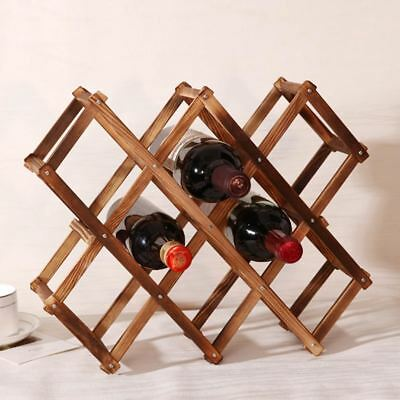 Wooden Wine Rack 3/6/10 Bottle Holder Mount Bar Display Shelf Folding Racks