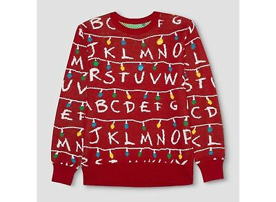 Mens STRANGER THINGS LIGHT UP RED Christmas Ugly Sweater (S, M, L, XL or XXL)