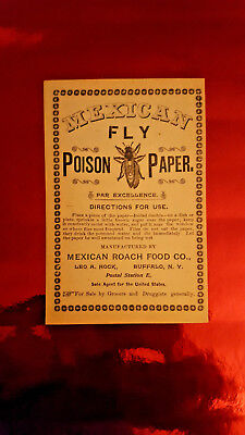 MEXICAN POISON FLY PAPER circa 1900 ADVERTISEMENT MEXICAN Roach and Food Co.