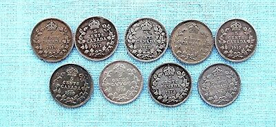 Lot of 9 Canadian five cent Silver