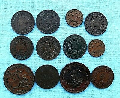 Mixed lot of 12 pre confederation Canadian Tokens and coins
