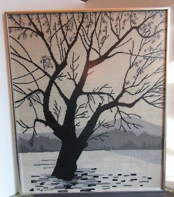Large Mid Century Needlepoint Black & White Winter Tree 20x24 Modern Frame