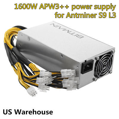 Original AntMiner APW3++ PSU 1600W Power Supply for Antminer D3 S9 S7 L3 New US