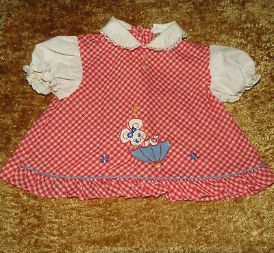 Sweet Vintage A Tiny Tots Original Baby Girls Red Gingham Permanent Press Dress