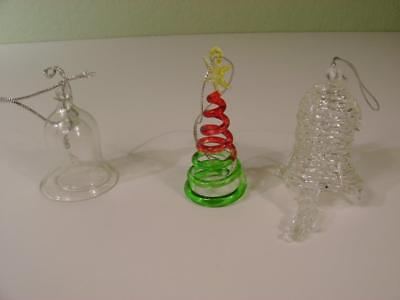 Vtg Set of 3 Clear Glass Ornaments 2 Tiered Nesting Bells Blown Spun Bell, Tree