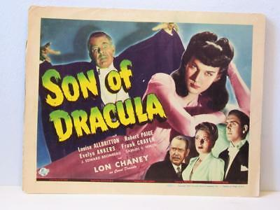 1943 SON OF DRACULA Orig UNIVERSAL Title Lobby Card LON CHANEY LOUISE ALLBRITTON