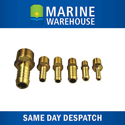 Brass Hose Tails Plumbing Fittings Barbed - Male Thread BSP - 9 Sizes Available