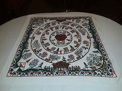 "Vintage German Folk Art Fabric Tablecloth Table Topper 34 1/4"" x 30 1/2"" Square"