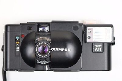 Olympus XA 35mm Film Camera W/A11 Flash In Excellent Condition