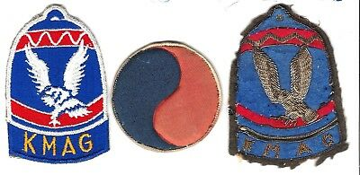Korean War KMAG patches -3, Japan md bullion, Early styleHM & later version(MM)