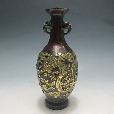Chinese Brass Gilt Hand-carved Dragon & Phoenix  Vase W Oianlong Mark
