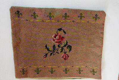 Vintage hand sewn tapestry roses cushion cover and green velvet on the back.