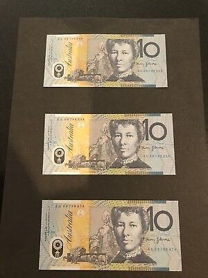 2008 Unc. First prefix $10 Notes X3 Not In Sequence.