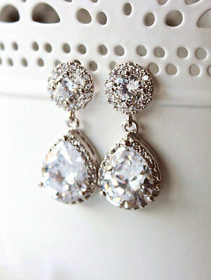 NEW Formal Faux Diamond Earrings - Clear White - Teardrop - Wedding Prom Bridal