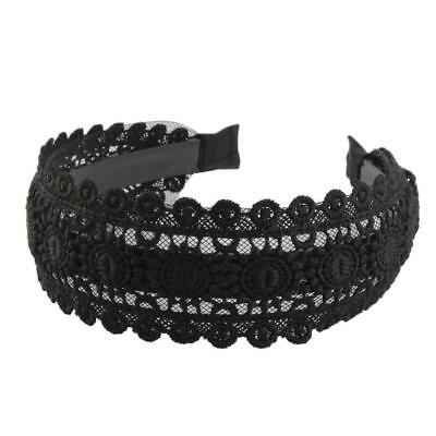 Gothic Wide Lace Headband Embroidery Hair Hoop Hollow Boho Hair Wrap Women