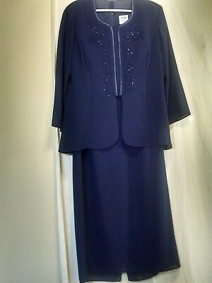 R and M Richards Mother of the Bride Groom Dress and Jacket Womens 16 Navy Beads