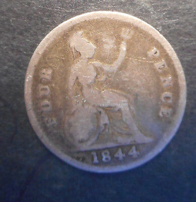 Great Britain 1844  Victoria  4d Fourpence Groat  Silver Coin