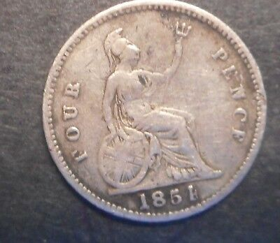 Great Britain 1854  Victoria  4d Fourpence Groat  Silver Coin Nice