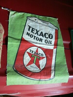 1935 Texaco Oil Can  Flag  Service Station Banner Sign