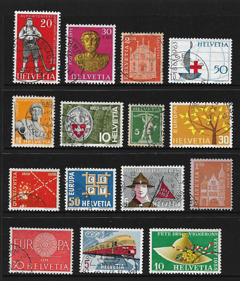 Switzerland Stamps - 15 Swiss stamps used, Alporn, Roman, Tell, Train, Red Cross