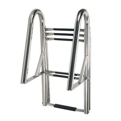 DOCK TELESCOPING LADDER 6 STEP HANDRAILS for PONTOON BOAT STAINLESS STEEL New