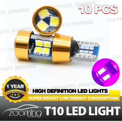 10x T10 194 W5W Canbus LED 3030 19SMD Car Side Pink Light Bulb Auto parking Lamp