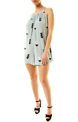 Wildfox Women's Arrow Cross Back Romper Jumper Mint S RRP $118 BCF612