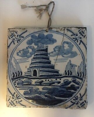Antique Early Delft Blue And White Oriental Pagoda