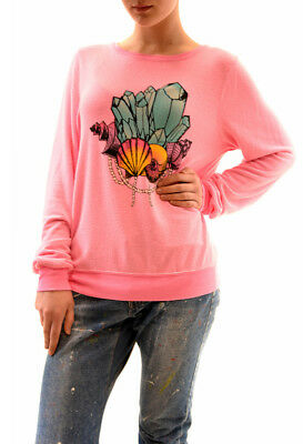 Wildfox Women New Party Girl Crystal Sweater Pink Size L RRP$ 95 BCF73