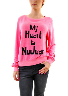 Wildfox Women My Heart is Nuclear Baggy Jumper Pink Size S RRP £91 BCF68